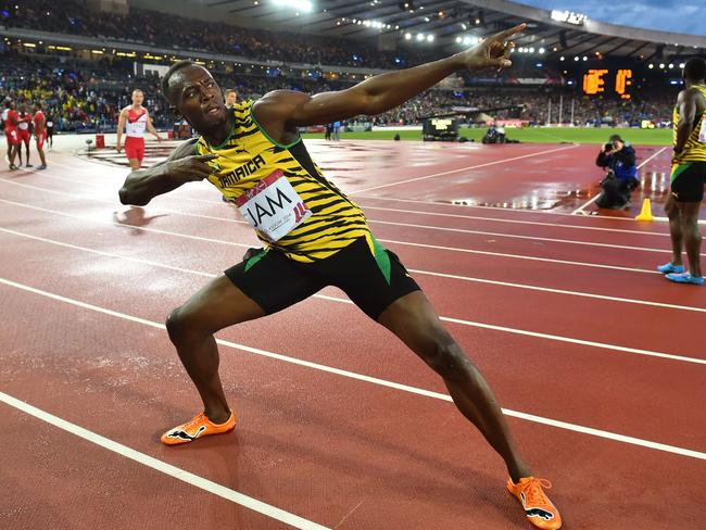 Jamaica's Usain Bolt poses after winning the men's 4 x 100m relay athletics event at Hampden Park during the 2014 Commonwealth Games in Glasgow.