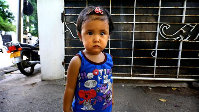 Toddler Rahima is living in Colombo with her mother in a refugee enclave. Picture: Nathan Edwards