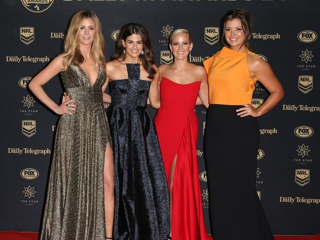 TV presenters Lara Pitt, Hannah Hollis, Yvonne Sampson and Jess Yates at the 2017 Dally M Awards held at The Star in Pyrmont. Picture: Christian Gilles