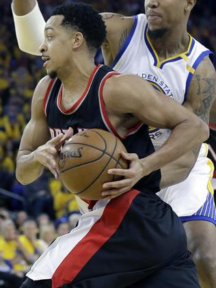 Portland Trail Blazers guard CJ McCollum gave the Warriors everything they could handle. Picture: AP