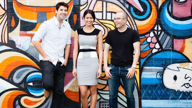 Canva co-founders Cameron Adams, Melanie Perkins and Cliff Obrecht. Source: Supplied.