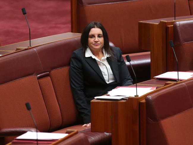 Senator Jacqui Lambie in the Senate Chamber at Parliament House in Canberra. Picture Kym Smith