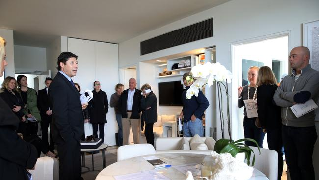 McGrath Auctioneer Scott Kennedy-Green at the auction today.