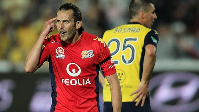 Adelaide United's Jon McKain shows his frustration during the loss to the Mariners. Picture: Tony Feder.