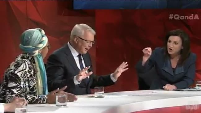 The ABC Q&A clash between Abdel-Magied (left) and Jackie Lambie (right, with Tony Jones in the centre) in February this year.