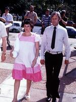 Lindy Chamberlain with husband Michael make their way to her trial at Northern Territory Supreme Court in Darwin,1982.