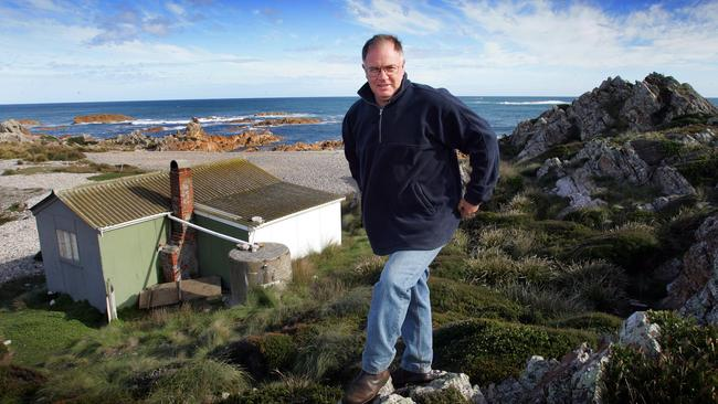 Tasmanian cattle farmer Geoff King, who was also a wildlife tour guide, at his shack at Kings Run.