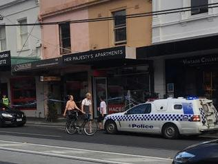 Police at the jewellery store robbery in Toorak Rd, South Yarra. Picture: Talia Johannsen