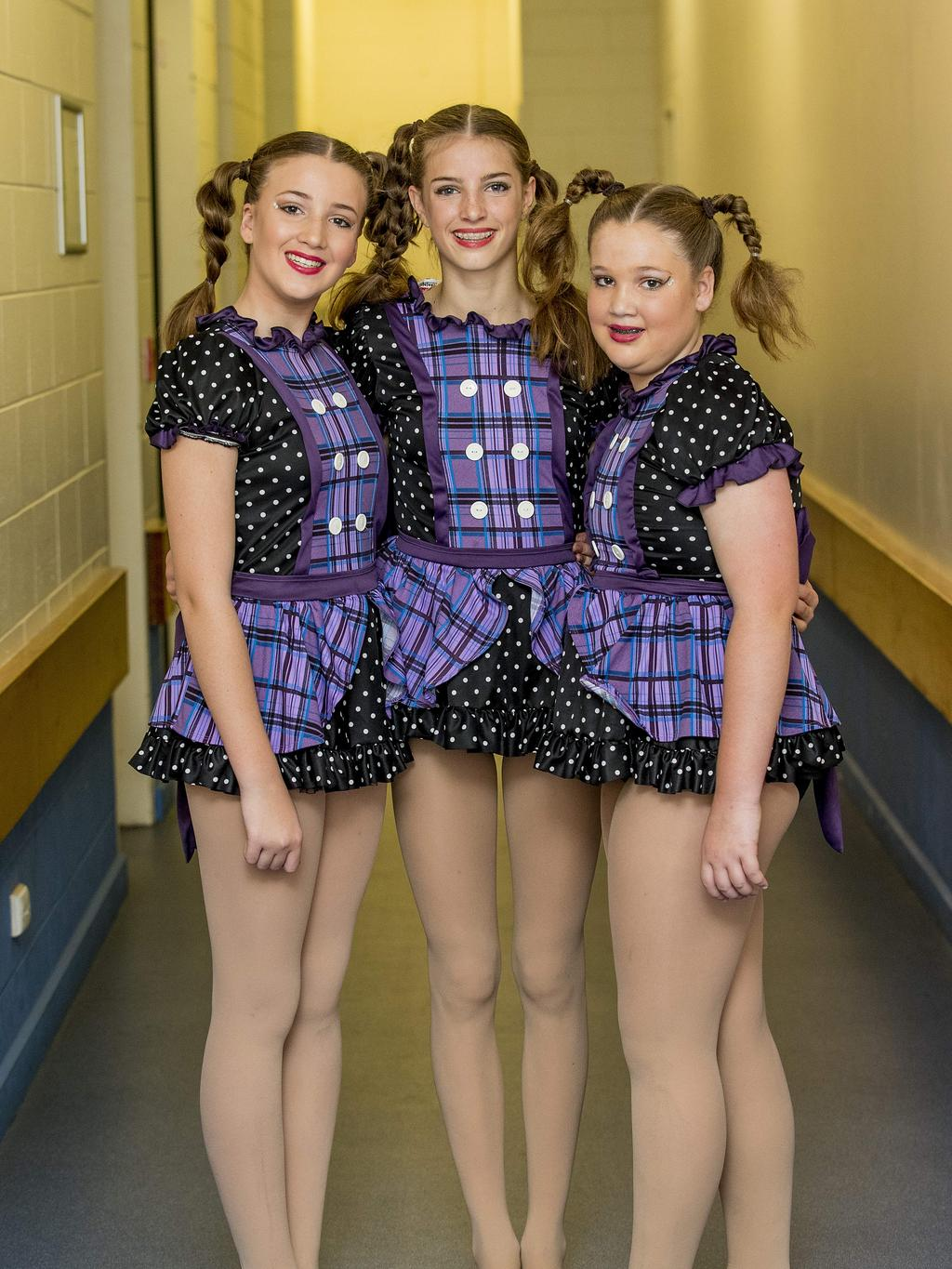 Emily Stenzel, 13, Jada Wright, 13, Katie Stenzel, 11, Performance Plus Dance Centre at the Gold Coast Eisteddfod at the Gold Coast Arts Centre, Bundall, on Sunday. Picture: Jerad Williams