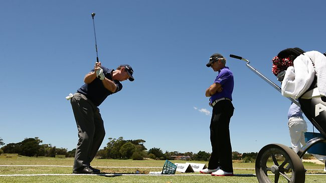 Tom Watson on the driving range during his practice round at The Lakes Golf Club. Picture: Brett Costello