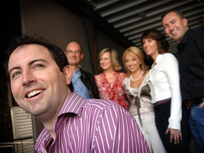 Former Executive Producer of Sunrise Adam Boland with the Sunrise team David Koch, Melissa Doyle Natalie Barr, Mark Baretta and Monique Wright in 2009.
