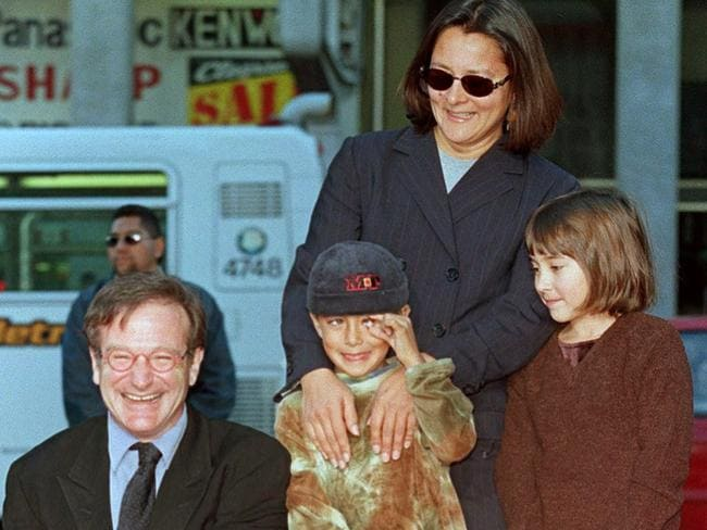 "A star is born ... Robin Williams (L) in December 1998 with family members Cody (C), Zelda (R) and former wife Marsha (back R) during Williams' hand and footprint ceremony outside the world famous Mann's Chinese Theatre in Hollywood, California. <b><a href=""/post/94586234216/my-family-has-always-been-private-about-our-time"" target=""_blank""></a></b>"