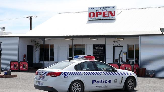 A police car at the Salt Creek roadhouse, near where two young women were allegedly kidnapped and physically and sexually assaulted. Photo Calum Robertson