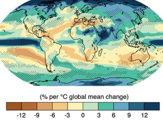 Map shows how the world will suffer from less rainfall with the expansion of the tropical zone.