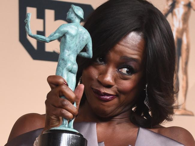 Viola Davis poses with the Actor for Outstanding Performance by a Female Actor in a Drama Series in the press room. Picture: AFP/Frederic J. Brown
