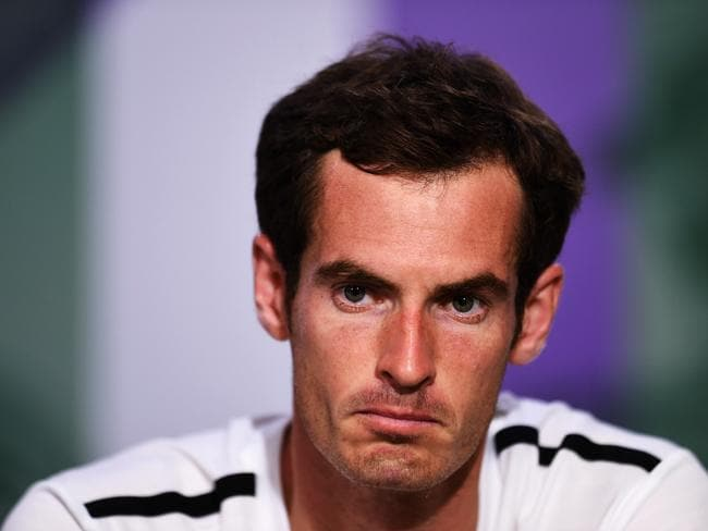 Bundled out ... Andy Murray of Great Britain speaks during a press conference after losing his quarter-final match against Grigor Dimitrov of Bulgaria.
