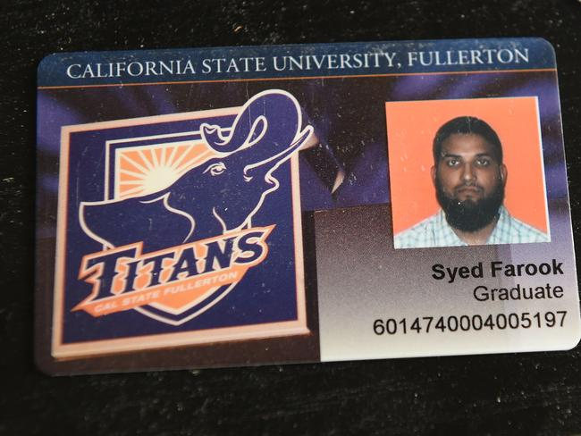 The California State University Fullerton student identification of San Bernardino mass murderer Syed Farook. Picture: AFP