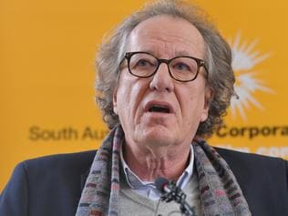 Storm Boy feature film cast Geoffrey Rush speaks to the media at the Adelaide Film Studios. Wednesday, July 26, 2017. Storm Boy is a contemporary re-telling of Colin Thiele?s classic tale, starring Geoffrey Rush and Jai Courtney. (AAP Image/David Mariuz) NO ARCHIVING