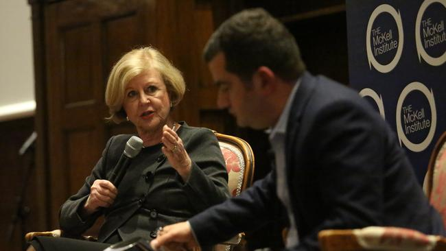 Gillian Triggs with Sam Dastayari at the launch his book, One Halal of a Story. Picture: James Croucher