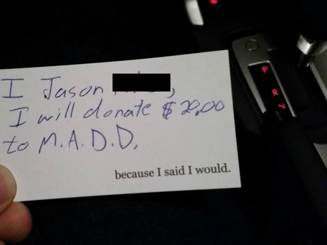 Another passenger donated his tip to charity. Picture: 'Because I said I Would'.
