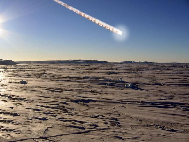 Private photo stored on the basis it is for one use only unless authorised by the editor or his representative, An artists impression of the asteroid strike detected by the Australian Antarctic Division in Antarctica