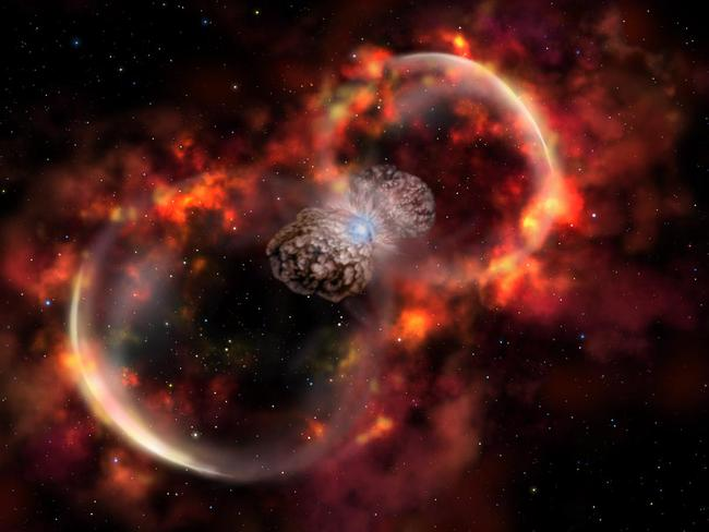 Blast effect ... an artist's impression of the expanding 'blast wave' caused by an eruption of Eta Carinae in 1843.