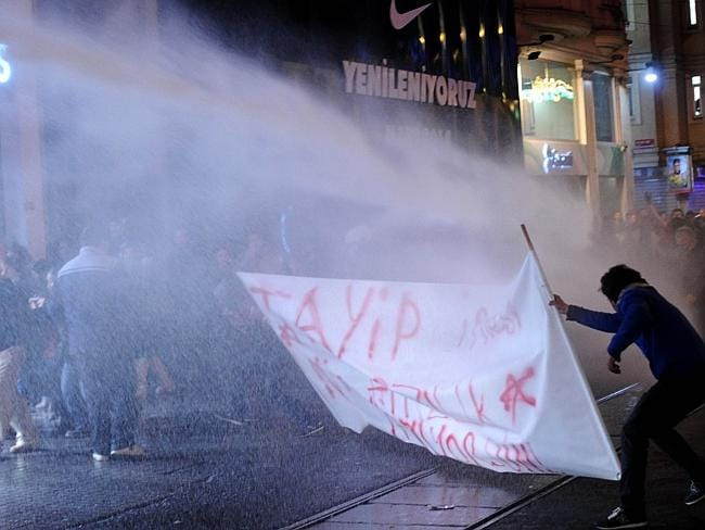 Turkish riot police .. use a water cannon to disperse protesters during a demonstration in Istanbul. Picture; AFP