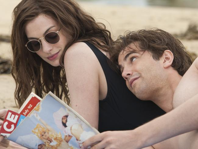 Hathaway with actor Jim Sturgess in a scene from One Day.