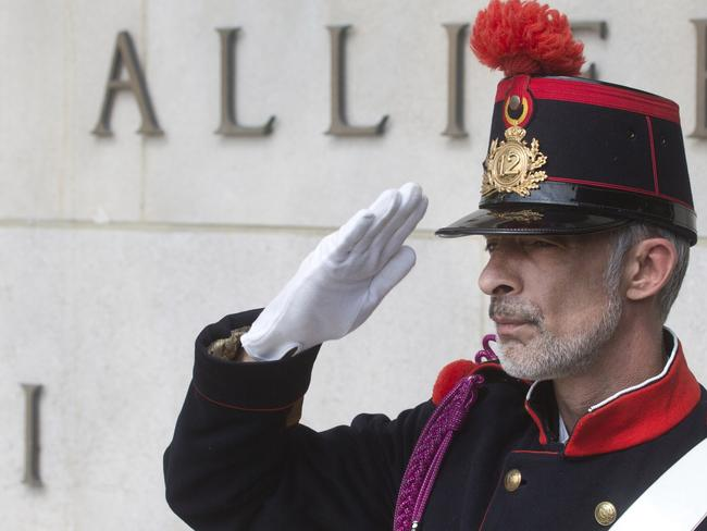 Lessons of the past ... soldier in period uniform takes part in a commemoration ceremony to mark the 100th anniversary of the outbreak of World War I. Picture: Virginia Mayo