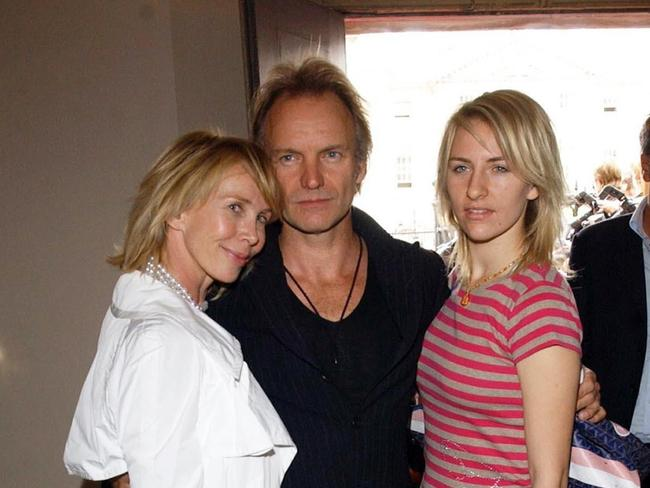 No money ... Singer Sting with his wife Trudie Styler, left, and daughter Mickey Sumner, who he said should not expect any money when he dies.