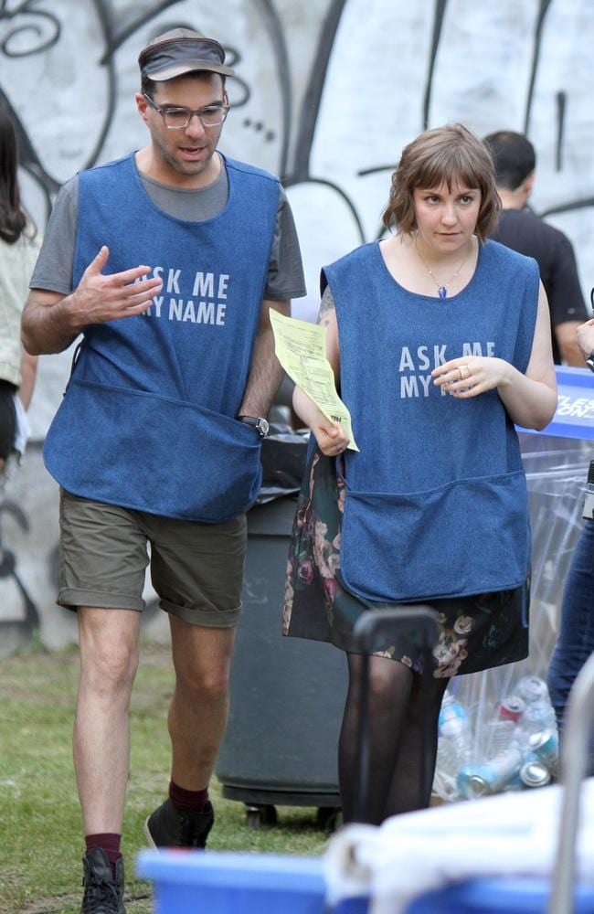 Lena Dunham and Zachary Quinto on the set of Girls in Bushwick, Brooklyn.