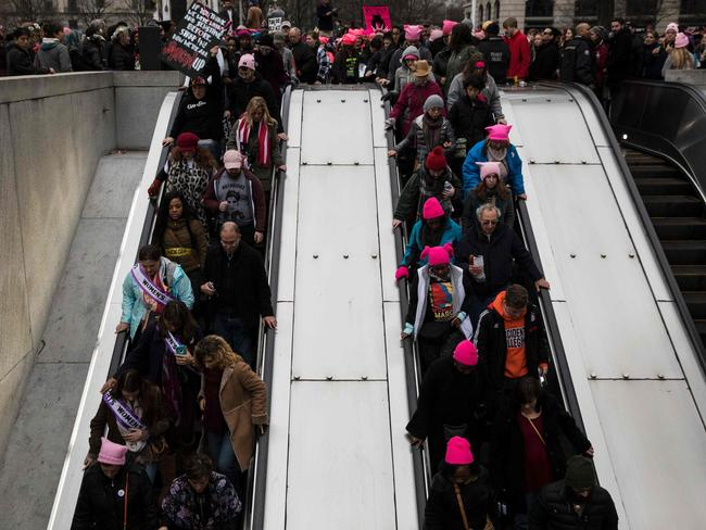 People make their way onto the National Archives Metro elevators during the Women's March on Washington. Picture: AFP / Zach Gibson