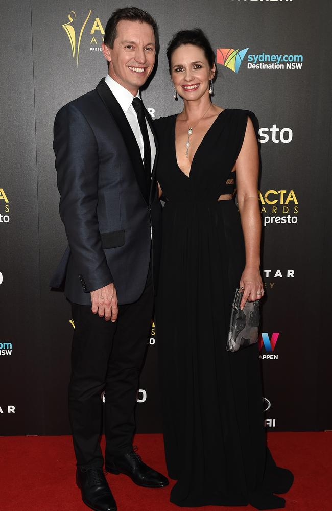Rove McManus and Tasma Walton arrive ahead of the 5th AACTA Awards Presented by Presto at The Star on December 9, 2015 in Sydney, Australia. Picture: AAP