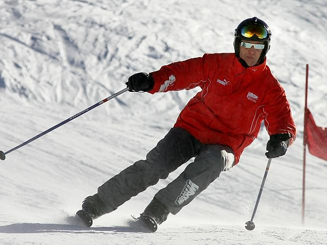 A lover of skiing ... Michael Schumacher skiing during a slalom race in Madonna di Campiglio, Italy.