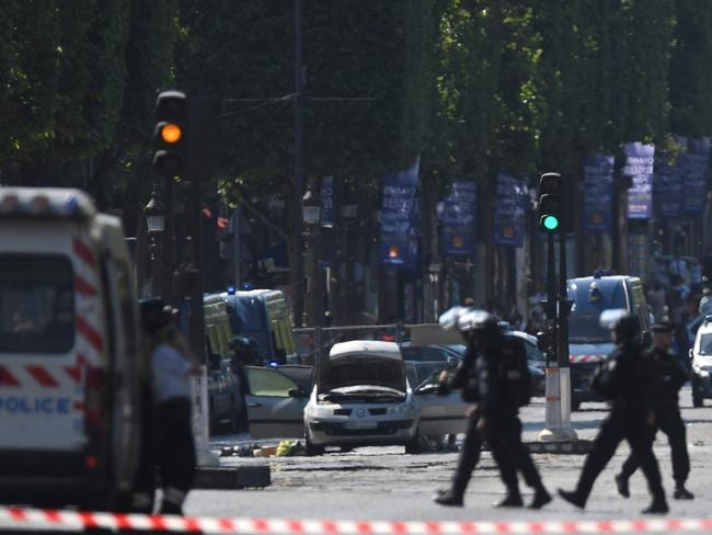 The Renault Megane used in the attack can be seen in the centre of the image. Picture: AFP