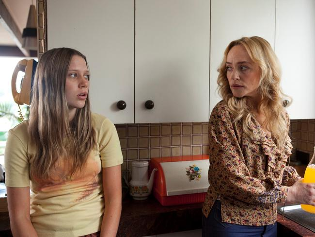 Brenna Harding on set with on-screen mum Susie Porter. Picture: Supplied