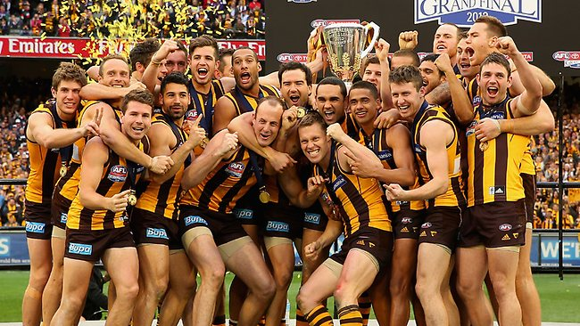 Hawkthorn players celebrate with the premiership cup after winning the grand final over Fremantle