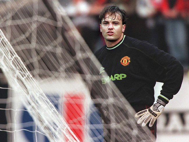 Mark Bosnich during a Manchester United training session.