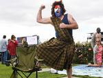 Ian Campbell comes to the cup dressed as a Bull Dogs baracking William Wallace. Picture: Jake Nowakowski