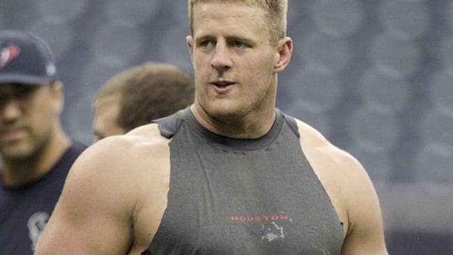 J.J. Watt #99 of the Houston Texans warms up.