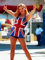 APRIL 14, 1999: Channel 7 reporter Sonia Kruger wearing traditional Spice attire, a Union Jack mini dress for press conference of Geri Halliwell's new solo record release at Sydney's Luna Park. Pic Jeff Darmanin