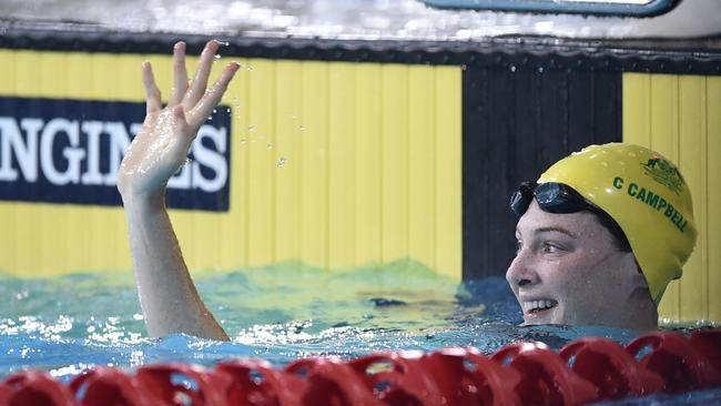 Cate Campbell wins her 50m freestyle semi-final.