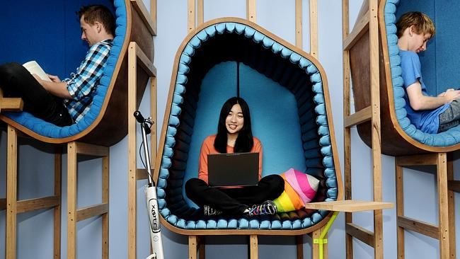 Janette Chiu hanging fellow interns in one of the many creative work spaces at the Google