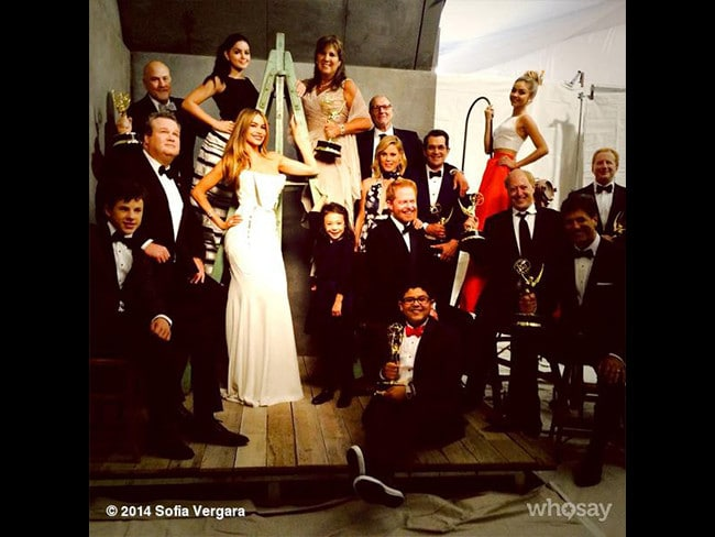 "Behind The Scenes Emmy Awards 2014... Actress Sofia Vergara posts, ""We win!!!numero 5!!"" Picture: Instagram"