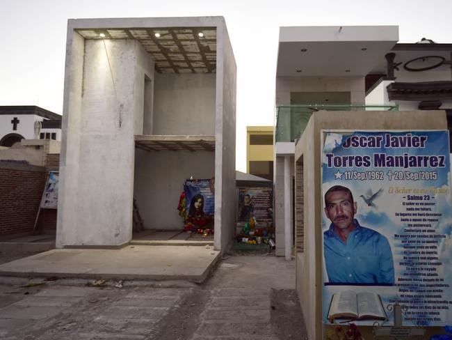 Elaborate two-storey tombs in Sinaloa, Mexico of the cartel's drug barons. Picture: Alfredo Estrella