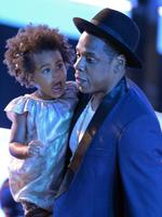 Blue Ivy Carter and Jay-Z appear on stage at the MTV Video Music Awards (VMA), August 24, 2014 at The Forum in Inglewood, California. Picture: AFP