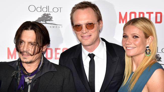 Actors Johnny Depp, Paul Bettany and Gwyneth Paltrow attend the premiere of Lionsgate's Mortdecai at TCL Chinese Theatre on January 21, 2015 in Hollywood, California. (Photo by Kevin Winter/Getty Images)
