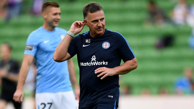 Melbourne City coach Warren Joyce wasn't given much away when questioned about Tim Cahill. Picture: AAP