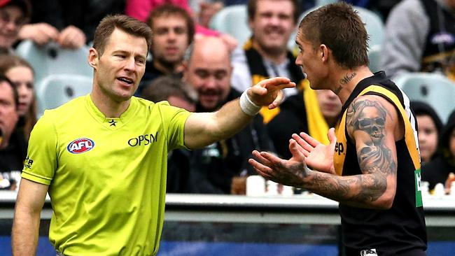 Dustin Martin pleads his case. Picture: Wayne Ludbey