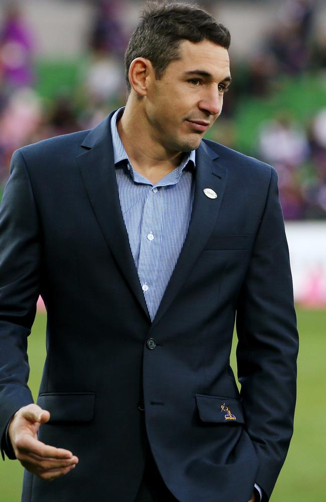 Billy Slater was a spectator at the Storm's loss to the Roosters on Sunday.